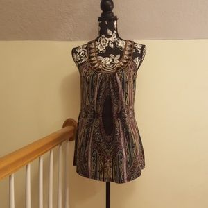Studio Y Black & Gold Multi Color Sleeveless Tunic
